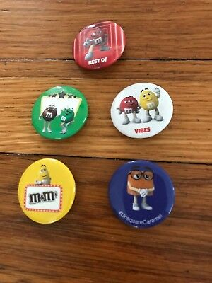 NEW Set of 5 VIDCON 2018 M&M's Metal PINS BUTTONS
