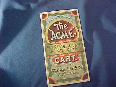 Orig 1880s KALAMAZOO CART Co FOLD OUT Advertising TRADE CARD for ACME CARTS