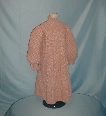 Antique Child's Dress 1890 Red and White Check Cotton