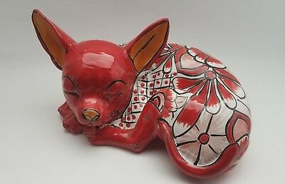 *Beautiful* Mexican Talavera Pottery CHIHUAHUA DOG 11''