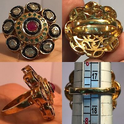 Antique wonderful Victorian Diamond and Ruby old Gold Gilding Pure Si