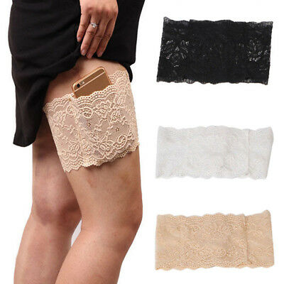 Anti-Chafing Thigh Women Lace Pocket Elastic Non-slip Chafing Sock Thigh Bands