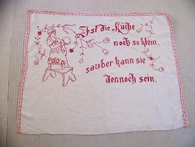 Redwork Embroidery  Kitchen Wall Hanging, Vintage,German or Pennsylvania Dutch?