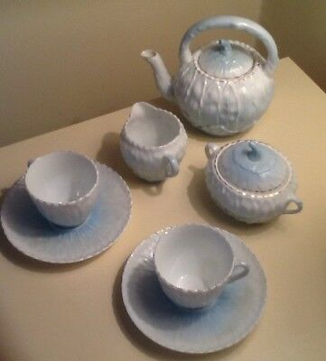 Early 20th Century Tea Set For Two Half Size Believe German? Shades Of Blues