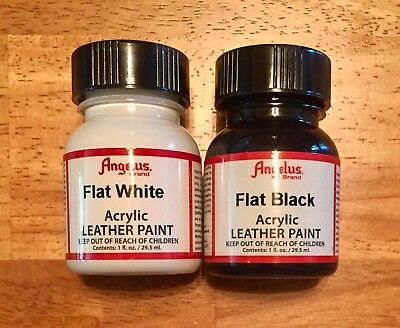 Angelus Brand Flat Black and Flat White Acrylic Leather Paint Kit 1 oz. each