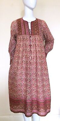 VINTAGE 1970's Indian Block Print COTTON Gauze Bohemian DRESS - Boho Festival
