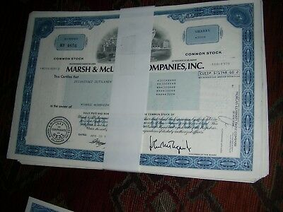 100 x Marsh & McLennan Companies Inc, shares, blue, 1970ies