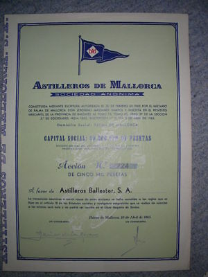 SPAIN: Astilleros de Mallorca, Accion (name share), DEKO, 1965, Capital 50 Mio