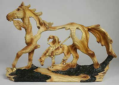 INDIAN IN HORSE FAUX WOOD CARVING Figure Statue NEW Western Native Trail End