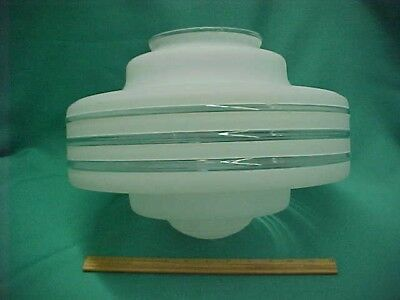 Vintage Art Deco Frosted Glass Globe Schoolhouse Ceiling Light Fixture Shade