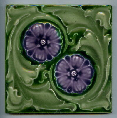 """Relief moulded 6"""" square Edwardian tile by Alfred Meakin, c.1905"""
