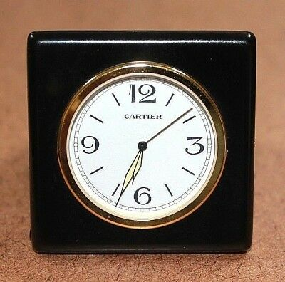 Cartier Travel Alarm Clock with Folding Black Leather Case for Repair [07WEI]