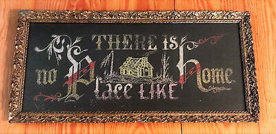 "Antique Paper Glitter ""there Is No Place Like Home"" Picture Ornate Antique Frame"