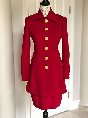 ST, JOHN Collection by Marie Gray red wool knit skirt suit Sz. 6