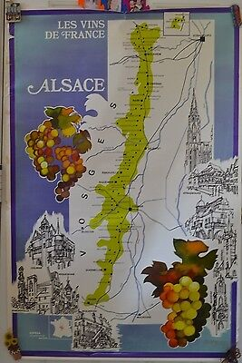 Vintage Wine Map France Alsage Poster #44 Advertising