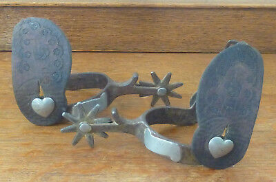 Vintage Pair of Crockett Cowboy Spurs with Heart Pin & Leather Tooling