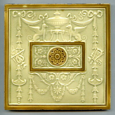 """Relief moulded 6"""" square NeoClassical tile by Josiah Wedgwood & Sons, c1895"""