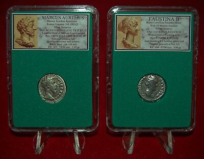 Ancient Roman Empire 2 Coins MARCUS AURELIUS + his wife FAUSTINA Silver Denarii