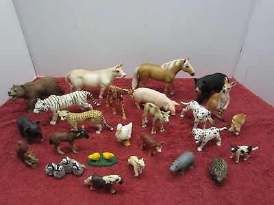 Lot of 18 Schleich Figures W Other Animal Figures Bear Horse Cow Penguins Squirl
