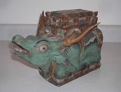 Vintage Indonesian Hand Carved Wood Offering Box, Figure Mythical Animal, Temple