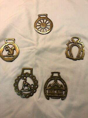 Lot of 5 Horse Brass Medallions