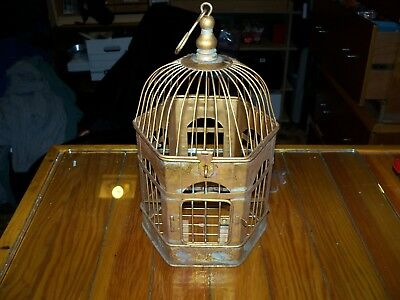 antique bird cage-small metal-might be brass-Victorian
