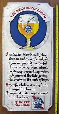 Pabst Blue Ribbon Wooden Beer Sign Beerman's Creed 24 X 11 Mancave