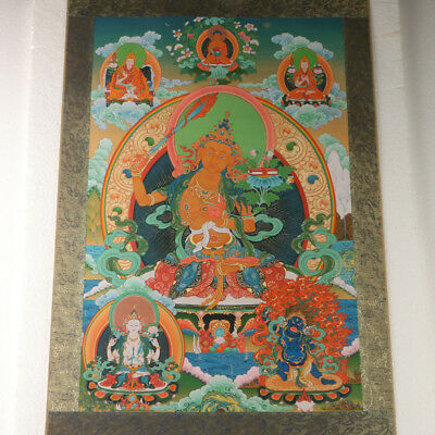Tibet Collectable Silk-paper Painted Bodhisattva Thangka GL1029