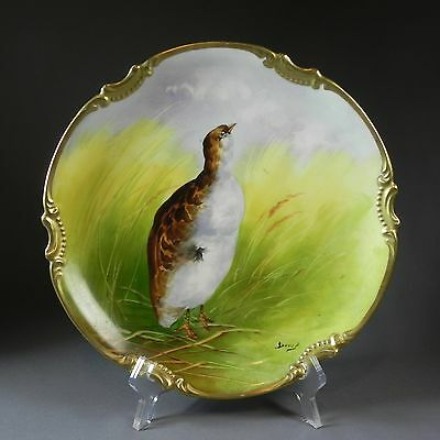 """Hand Painted Antique Signed Limoges Game Cabinet 10.75"""" Plate Gold Encrusted"""