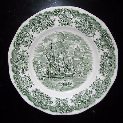 """green transferware HISTORICAL PORT OF ENGLAND Dinner plate 10"""" sail row boats"""
