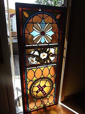 """Antique stained glass window jeweled Hand leaded 1800's """"LARGE"""" 5 feet x 25 1/2"""