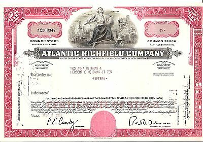 15 sh 1969 OLD CANCELED STOCK CERTIFICATE ATLANTIC RICHFIELD CO RED/PINK