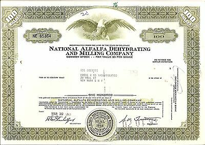100sh 1969 OLD CANCELED STOCK CERTIFICATE NTL ALFALFA DEHYDRATING AND MILLING C