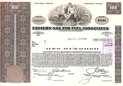 100 Sh. 1975 Old Canceled Stock Certificate Eastern Gas And Fuel Associates