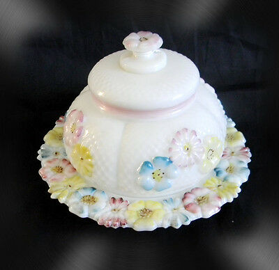 Cosmos butterdish - white glass with pastel flowers - ca 1900
