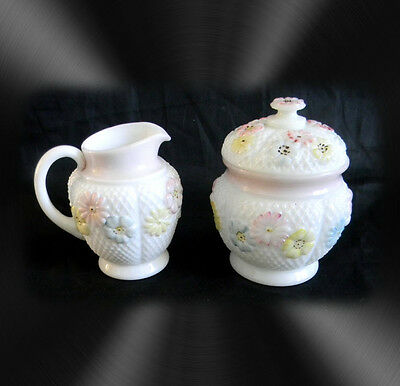Cosmos creamer and sugar - white glass with pastel flowers - ca 1900