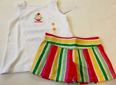 NWT GYMBOREE 2pc OUTFIT SUMMER White SWEET Tank Top/Striped Shorts 4/4T $33