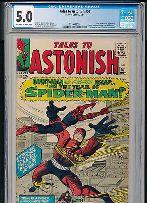 TALES TO ASTONISH #57. 1964 Marvel CGC 5.0 Early SPIDER-MAN
