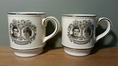 2 Sadler England Charles And Diana Commemorative Marriage Coffee Mugs 1981