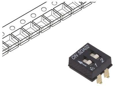 SDA02H0SBR Switch DIP-SWITCH Poles number2 OFF-ON 0.025A/24VDC 100MΩ