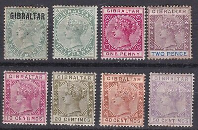 Gibraltar 1886-98 collection of 8 mint hinged