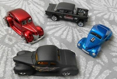 Hotwheels Lot Of 4 Hotrods Diecast Hot Wheels Models 1940 Ford Willys Chev Cars
