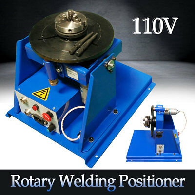 "110V Rotary Welding Positioner Turntable Table 2.5"" 3 Jaw Lathe Chuck 2-20RPM"