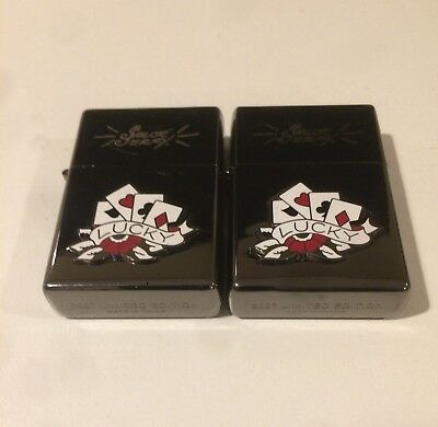 New 2007 Limited Edition Lighters (2) - Sailor Jerry Lucky Cards - Black Chrome