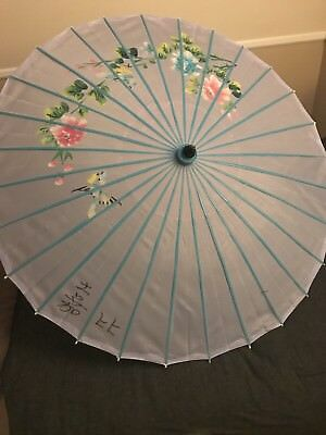 Blue And Purple Flower Chinese Umbrella antique vintage