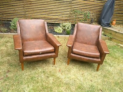Pair Of Vintage Retro / Mid-century Faux Leather Armchairs