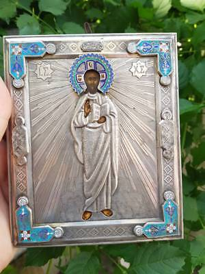 RRR Extremely rare Russian Imperial 84 silver icon with enamel 1850-1880 Jesus