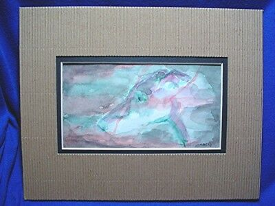 Sketch watercolor Painting Greyhound Whippet OOAK Small matted by CAConter #