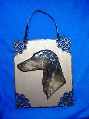 Feathered Saluki hanging ornament OOAK Holiday or everyday by Cindy A. Conter