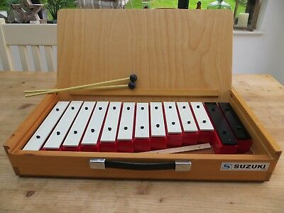 Suzuki Glockenspiel Sound Block SB-13 PERFECT CONDITION + wooden box/carry case